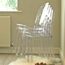 Set of 8 Modern Ghost Transparent Clear Stackable Wedding Dining Chairs Decor