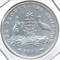 Australia 1933 Florin 2/- George V (Silver) - almost Very Fine/Very Fine