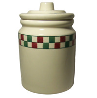 Hartstone Farmhouse Cookie Jar Canister Red Green Check Checkerboard Checkmates