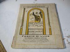 libro lettura ventennio PRIMAVERA D'ITALIA di G. ZANETTI - ED. R. SANDRON 1929