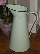 Antique French Enamelware BODY PITCHER - nice aquagreen color enamel.