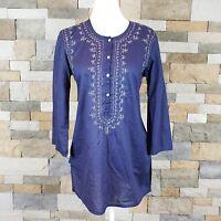 Gap Womens Sz XS Lightweight Blue Tunic Top Embroidered 3/4 Sleeve 100% Cotton