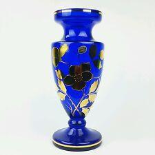Bohemian Czech Art Glass Vase with Gold Gild