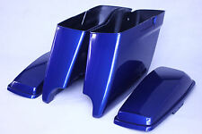 """Superior Blue color 2014-2017 Harley 4.5"""" ABS  Extended Saddlebags both cutouts"""