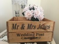 Personalised Wedding Post Card Box Wooden Box Crate Gift Storage Wedding Party
