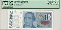 Argentina 1985-89 10 Australes PCGS Certified Banknote UNC 67 PPQ Superb Gem 325
