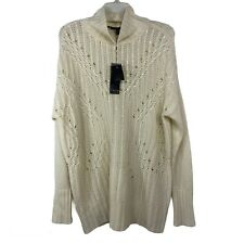 BCBGMAXAZRIA Turtleneck Sequin Tunic Sweater Gardenia Size Small NWTS