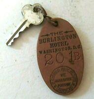 Rare Vintage Burlington Hotel Washington DC-Key & Fob-Room 201 B
