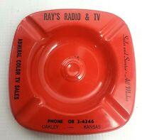 Vintage ASHTRAY Metal Red RAY'S RADIO & TV 1960's