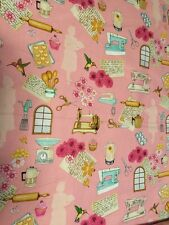 Home Sweet Home , on Pink Cotton Fabric per yd 44