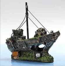 1X Resin Pirate Ship Sailing Boat Aquarium Decoration For Fish Tank landscape XT
