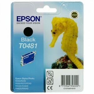 Original Epson T0481 Black Seahorse Stylus Photo RX500 RX600 RX620 Packaging