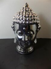 NEW Large Ceramic Silver Buddha Face Bust Head Sculptures Figurines