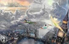 """Tinkerbell Peter Pan Fly Neverland Thomas Kinkade Art Postcard 8.5""""x5.5"""" Disney"""