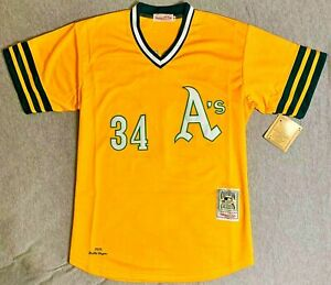 1972 Rollie Fingers Oakland Athletics Gold Jersey Size Men's Large