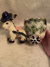 Vintage Hand Painted Glazed Porcelain Donkey In Blue Hat & Cart Planter Japan