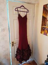 Basix Black Label Burgundy Ribbon Ball Gown Occassion Wear Dress size 8 10 UK