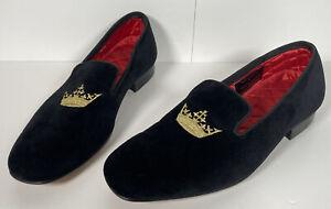 Rare PEAL & CO for BROOKS BROTHERS Black GOLD CROWN VELVET SLIPPER Loafer 8.5 D