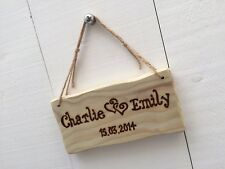 Handmade Personalised Rustic Wooden Anniversary Valentine Love Heart Sign Plaque