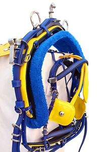 BIOTHANE QUICK HITCH HORSE HARNESS SET BLUE & YELLOW COLOUR COMBINATION