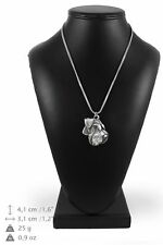 Schnauzer - silver covered necklace with silver chain, Art Dog