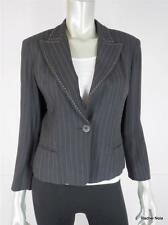 NANETTE LEPORE 10P Pin Striped Cropped Black Beige Sexy Femme Jacket Blazer EUC