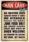 Man Cave Rules Rustic Tin Sign 30 X 45cm