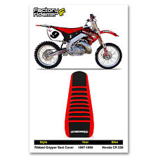 1997-1999 HONDA CR 250 Ribbed GRIPPER Red & Black with Red Ribs by Enjoy MFG