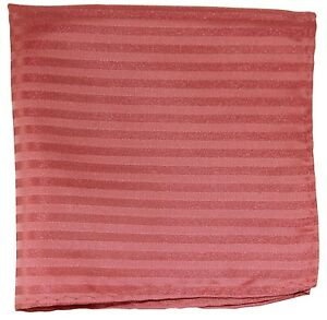 New Men's Polyester Woven pocket square hankie only coral tone on tone stripes