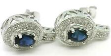 Sapphire & 28 Diamond 9ct 375 Solid White Gold Stud Earrings - FREE Shipping