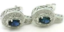 Sapphire & 28 Diamond 9ct 375 Solid White Gold Stud Earrings -