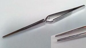 15.3cm Stainless Steel Reverse Action Needle Nose Tweezers with Serrated Tip
