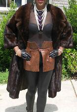 Classy demi Full length Swing dark brown Mink Fur coat jacket  Stroller S-M 4-10