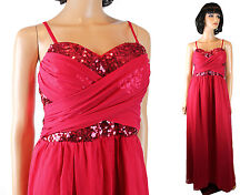 NWT Chi Chi London Gown 10 M Long Red Chiffon Sequin Dress Strapless Sleeveless