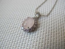 2.84ct Rose Quartz 925 Sterling Silver Pendant and Necklace