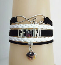 Infinity Love Gemini Constellation with Heart Charms Leather bracelet