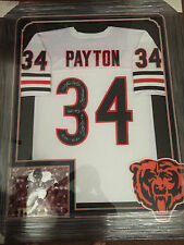 EXTREMELY RARE WALTER PAYTON FRAMED AND AUTOGRAPHED WHITE JERSEY PSA/DNA CERT.