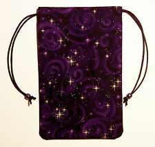 """Purple Celestial Stars Tarot Drawstring Bag Pouch 5""""x7"""" or for Runes Crystals"""