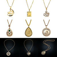 Fashion 24K Gold Plated Muslim Islamic Allah Chain Rhinestones Pendant Necklaces