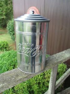 Coca-Cola Medium Galvanized Canister Cookie Jar Container - BRAND NEW