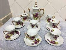 Vintage White With Floral Fine Porcelain Tea Set 17 Pieces