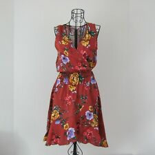 LUSH Nordstrom XS Side Tie Sleeveless Rust Floral Dress