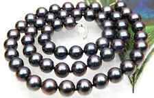 gorgeous tahitian 12-14mm round black red pearl necklace 18inch 14k
