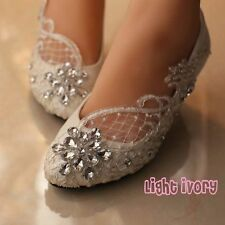 "Wedding White Ivory Lace Bridesmaid Bridal shoes Flat 3"" 4"" Low High Heels 5-12"