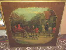 Antique Fox Hunt Card Table Folding Table Top Print As Wall Hanging Picture