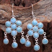 """Dominican Republic Larimar Gemstone women Earring 925 Sterling Silver Jewelry 2"""""""