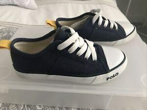 Boys Shoes Size 11 (30) POLO RALPH LAUREN Blue Pumps Canvas Trainer