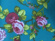"""Teal Rose Flower Print Poly Cotton Fabric - Sold By The Yard - 59"""""""