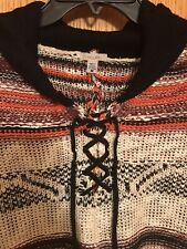 URBAN OUTFITTERS ECOTE OPEN KNIT HOODED PONCHO SZ M NEW