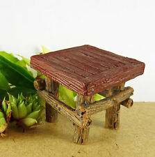 Dollhouse Miniature Fairy Garden Rustic Patio Side Table with Red Top #1549
